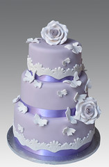 Lila Lace Wedding Cake (Gellyscakes) Tags: wedding cake lace lila