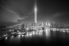 A Little Wider (Tim Drivas) Tags: city newyorkcity longexposure blackandwhite bw skyline architecture night lights cityscape 911 brooklynbridge hdr tributeinlight september11th
