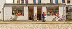 Toy Shop | Bergen | Norway (Charn High ISO Low IQ) Tags: summer white bicycle norway bergen lovely scandinavia toyshop touristattraction shopfront photostitch canon6d