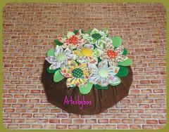 Peso de porta com flores de fuxico (artesbybax - Carmen) Tags: fuxico pesodeporta floresdefuxico pesodeflores