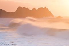 Magic Moment... (etunar) Tags: sea seascape storm beach sunrise landscape coast cornwall surf waves breakingwave seaspray porthcurno goldenlight breakingwaves cornishcoast cornwallcoast 2013storm