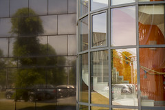 110524-134220 (Tom Wachtel) Tags: reflection building tree window glass car architecture mirror stair pattern line