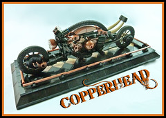Copperhead Steampunk Bike (Lino M) Tags: black bike dark punk lego tan steam copper motorcycle concept martins lino lugnuts steampunk copperhead dioramarama