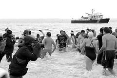 Polar Bear Plunge - Coney Island (Brooklyn Hilary) Tags: nyc newyorkcity bw cold beach brooklyn swimming swim coneyisland blackwhite freezing polarbear polarbears newyearsday plunge 2014 january1 2014365blackandwhite