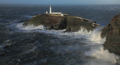 Crash ! BIG wave at South Stack (Robstorm Photography) Tags: uk england cliff sun lighthouse storm wales squall photography big high waves wind britain tide north tidal serge southstack anglesy robstorm