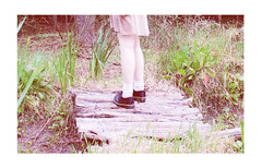 (will you leap to follow? will you turn and go?) (merra marie) Tags: wood bridge pink winter cute love feet nature girl beautiful grass fashion digital forest vintage woods pretty dress pale retro indie lovely tumblr
