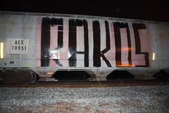 Rakos (No Real Name Given.) Tags: night train graffiti roller huge boxcar freight rolling benching rakos