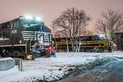 Thoroughbred Heritage (sullivan1985) Tags: railroad winter snow storm heritage ice night train newjersey ns nj engine february ge locomotives generalelectric norfolksouthern kearny hudsoncounty eot southkearny nkp hackensackriver gevo nickleplate es44ac passicriver kearnypoint