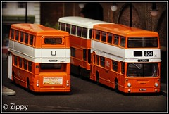 Daimler Duo (Zippy's Revenge) Tags: bus scale model transport an diorama efe daimler fleetline mcw diecast dms gmpte greatermanchester 2327 2320 code3 oogauge metrocammell lancashireunited dmsclass exclusivefirsteditions 176thscale mlh407l mlk588l