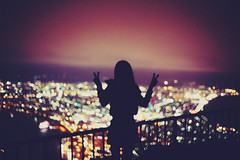 This is What It Feels Like (Amanda Mabel) Tags: city shadow portrait sky mountain girl silhouette japan night lights hokkaido nightlights peace bokeh surreal faceless peacesign hakodate arminvanburen mounthakodate thisiswhatitfeelslike amandamabel