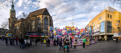 Karneval Ride next to Reinoldikirche (IanHartS) Tags: street city carnival panorama church clouds shopping germany deutschland day sunny rides dortmund karneval streetvendor shoppingcenters northrhinewestphalia pedestrianzone reinoldikirche colorefexpro