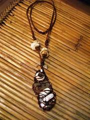 Copper and Shells (kaingud) Tags: shells wire handmade wrapped copper seaglass elnido palawan puka bonebeads pearlbeads moonstonebeads