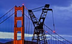 cross hairs (pbo31) Tags: sanfrancisco california bridge orange color night dark spring construction nikon cranes 101 goldengatebridge april presidio 2014 d90 presidioparkway
