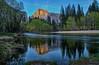 Half Dome at Dusk (HavCanon.WillTravel) Tags: california sunset reflection halfdome yosemitenationalpark contrails hdr mercedriver alpineglow ef2470f28 fdrtools canon5dmkii
