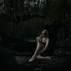 the prayers of Chryses (kim.yanick) Tags: trees black art leaves forest photomanipulation photoshop dark painting nude movement artist moody darkness witch praying surreal spell fabric blonde casting figurative wiccan shadowself supplication flowingfabric succumb