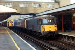 73106 + 302220 Woking 23.12.92 (jonf45 - 5 million views -Thank you) Tags: train grey woking br transport rail class british network southeast railways 73 302 nse departmental 73106 302220