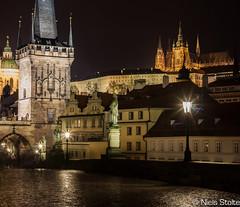 Prague at Night (Niels Photography) Tags: old city bridge castle wet beautiful night canon dark lights evening gate long exposure republic czech prague charles praha images rainy stitching historical late cesky republika vertorama