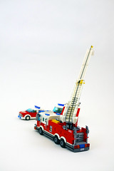 Ladder Truck - Ladder fully extended (jskaare) Tags: car truck fire lego chief engine ambulance marshall creation vehicle ladder emergency suv department own brigade fd moc