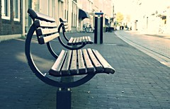 HBM - Empty seatings after closing time.. (J a n W i l l e m) Tags: street shopping bench evening empty duo lonely deserted hbm