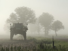 Deere in the fog (Bogger44) Tags: outdoor morning fog mist sunlight daylight shadow tree trees country rural farm agriculture implement johndeere spring field nikon p510 dunncounty wisconsin sky explore inexplore explored