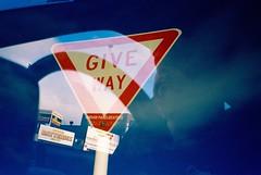 Give Way (Steve Wheadon) Tags: film driving kodak doubleexposure auckland giveway compact kodakgold colourfilm incameramultiexposure olympusazzoom