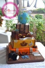 Vintage suitcase wedding cake (The Cupcake Factory Barbados) Tags: wedding cake nontraditional chocolate vintage suitcase valise luggage world map glob travelling travel camera around