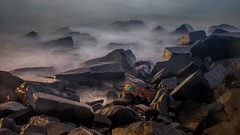 Rocks (rameshsar) Tags: 1655 pondicherry xt1 rocks slowshutter landscape lowlight morning sunrise dawn art nature