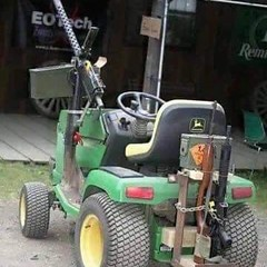The new law firm mower / debt collector  _____ (Jon Welborn) Tags: square hilarious funny gun lol rifle squareformat lawnmower guns haha mower machinegun firearm iphoneography instagramapp
