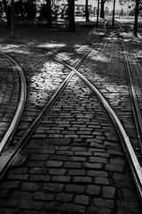 Ways (deniss.kaibagarovs) Tags: road street old city light brick metal contrast vintage dark town moving iron feel tram railway rails ways blankandwhite