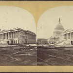 Exterior view of the east side of the United States Capitol building, 1868