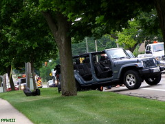 Damaged Jeep (PPWIII) Tags: grandrapids burton police grpd grfd accident fire department jeep immaculateheart ihm catholic church cambridge
