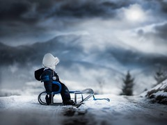 on the way to the land of dreams (iwona_podlasinska) Tags: blue winter boy sky mountain snow cold childhood kid child magic dream dramatic dreams magical iwona sledge freezein podlasinska