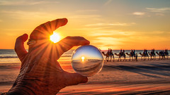 Capturing the sunset on Cable Beach (jan_clewett) Tags: camels cablebeach sunset beach beautiful camelrides westernaustralia colourful broome flickrfriday crystalball crystalballphotography camelride seascape serene picturesque exciting fun kimberleys topend australia adventure