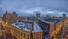Stormy Sunset... (Ken Thomann Photography) Tags: city nightphotography windows sunset panorama streets brick rooftop water weather stone skyline architecture river hotel office parkinglot flickr downtown cityscape traffic tn outdoor dusk streetlights memphis tennessee steel pano oldbuildings landmark panoramic explore uptown mississippiriver nightshots f56 storms peabody lanscape 18mm parkingdeck longexp iso50 concreete canon6d canon1635f28lii kenthomannphotography