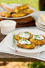 Australian Crash Hot Potatoes with Sour Cream (dolphy_tv) Tags: food green dinner table lunch golden wooden healthy dish skin crash outdoor sauce country rustic australian young tasty plate vegetable fresh roast gourmet delicious crispy potato homemade jacket meal vegetarian cooked fried roastpotatoes herb crushed chive baked sourcream greenonion garnish bakedpotato roasted cremefraiche whitesauce roastedpotatoes roastpotato roastedpotato flattern newpotato crashhot