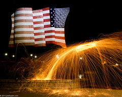 Happy Fourth of July! (Jim Frazier) Tags: 20151013steelwoolburning q4 fire steel wool burning burn sparks circles spinning copyright jimfraziercom jim frazier october 2015 fall autumn illinois il kane kanecounty elgin patriotic american flag fourth july f10 fastpictures