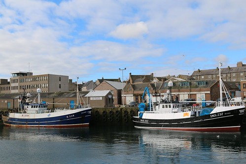 21st April 2016. Falcon H119 and Acorn INS237 in Peterhead Harbour, Aberdeenshire, Scotland