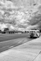 Furthur (autobahn66.com) Tags: california road storm bus rain clouds vintage dark desert foreboding empty joshuatree highdesert