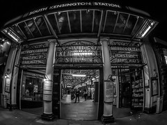 Night Tube (Mike Hewson) Tags: city urban blackandwhite bw london monochrome station architecture night underground lumix town blackwhite metro tube fisheye panasonic londonunderground southkensington gx8 photo24 micro43 microfourthirds samyang75mm