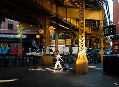 In the Sun's Spotlight (0028520) (Kurt Kramer) Tags: street urban wickerpark chicago cityscape blueline el structure damen lacolombe