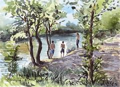 Junto al Manzanares (P.Barahona) Tags: rio verano sauces ribera baistas