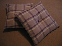 Plaid cushions (Dr Badcrumble - Maker and Baker) Tags: check purple handmade scatter covers plaid cushion remnant upcycled mrsbadcrumble