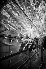 Reflections (GavinZ) Tags: germany airport frankfurt trainstation reflections glasswall blackandwhite bw monochrome travel mirror