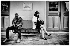 street (QPaz) Tags: street city two people blackandwhite man monochrome switzerland blackwhite waiting fuji phone zurich streetphotography zrich schwarzweiss xf27 qpaz