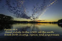 Psalm 98.4 - Shout Joyfully! (TAC.Photography) Tags: sunset scripture buddlake psalm984 michiganwaterway shoutjoyfully