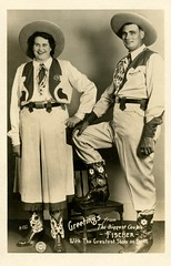 The Biggest Couple with the Greatest Show on Earth (Alan Mays) Tags: ephemera postcards realphotopostcards rppc photos photographs foundphotos pitchcards cards portraits fischer gottliebfischer elfriedefischer biggestcouple tallestcouple tallestmarriedcouple couples tallest biggest men women performers cowboys cowgirls westernwear clothes clothing hats boots vests greatestshowonearth ringlingbrosandbarnumbaileycircus circuses antique old vintage campbellsphotoart dayton oh ohio photographers
