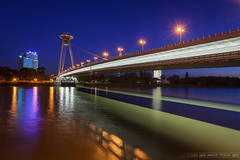 Blue hour bridge (Miroslav Petrasko (blog.hdrshooter.net)) Tags: camera new travel bridge blue color reflection water digital canon lens effects photography eos lights photo blog high europe dynamic image mark tripod most ii software hour processing multiple slovakia imaging dslr range bratislava danube hdr hdri miroslav exposures bracketing snp 1635mm dunaj photomatix tonemapped photographyblog povstania photoglog theodevil hdrshooter petrasko miroslavpetrasko hdrshooternet slovensko5d slovenskeho narodneho