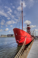 Old boat of a fire brigade, Amsterdam, the Netherlands (Cyrille Gibot) Tags: color colour netherlands amsterdam vertical closeup port docks outdoors harbor dock ship harbour vessel rope anchor nautical moored