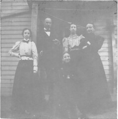 Four women and one man stand under a porch (Meyersdale Public Library) Tags: people men women 1900s 1890s 1880s porches photobox12 cookalbum