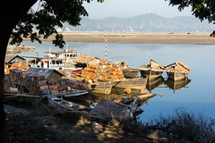 Boats on the Ayeyarwady (kajami) Tags: calendar burma explore cycle myanmar 2013